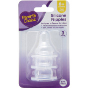 Parent's Choice Fast Flow Silicone Nipples, 3 ct