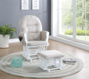 Naomi Home Brisbane Glider & Ottoman Set-Cushion Colour:Cream,Finish:White