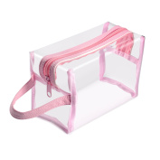 Zodaca Hanging Cosmetic Makeup Clear PVC Travel Wash Bag Holder Organiser Pouch - Light Pink