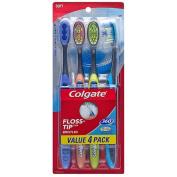 Colgate 360deg Total Advanced Floss Tip Soft Toothbrushes, 4 ct