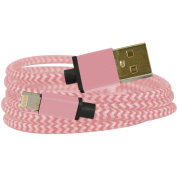 Emio 00132 DuoCable Braided Lightning and microUSB Sync and Charge Cable, Rose Gold
