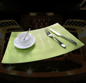 Ajunr-Kitchen Multifunctional Western Heat Insulation And Anti-Ironing Mat Household Kitchen Water Proof Fan-Shaped Dining Pad Metal Film Thickening Bronzing Western Food Table Mat Green