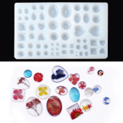 Jeteven Silicon Mould Cabochon Jewellery Casting 29 Designs 58 Case DIY Resin Stencils for Pendant Key Chain Handmade Craft