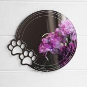 Circle Paw Prints Engraved Acrylic Mirror - 15cm x 15cm
