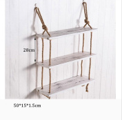 Household goods 3 Tiers Solid Wood Hemp Rope Shelf Wall Hanging Living Room Creative Simple Wall Decorations Storage Rack -CRS-ZBBZ
