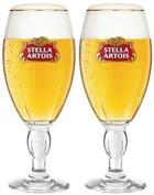 Stella Artois Chalice Pint Glasses CE 20OZ/568ML (Set of 2) featuring Wimbledon Tennis Logo