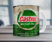Hiros®Castrol inspired Gift 330ml Tea / Coffee mug Motorcycle Car Mechanic