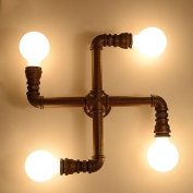 Industrial Vintage Edison Steampunk Minimalist ORB Metal Water Pipe 4 Lights Wall Lighting Lamps Wall Sconces Lamps Fixture Mounted Light