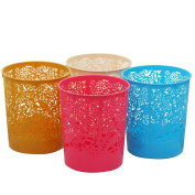 FOKOM 4Pcs Indoor Dustbins hollowed-out Plastic Garbage Can Uncovered Rubbish Bin - Colour Random
