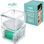 Clear Acrylic Cotton Ball & Swab Storage Case - Organiser For Cotton Swabs, Q-Tips, Make Up Pads, Cosmetics & More - For Bathroom & Vanity By AcryliCase