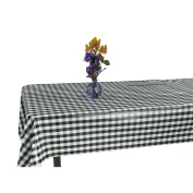 Ottomanson Chequered Design Vinyl Indoor & Outdoor Non-Woven Backing Kitchen Picnic Tablecloth, Black, Yellow
