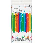 Rainbow Ribbons Birthday Plastic Tablecloth, 210cm x 140cm