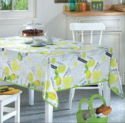 Ottomanson Multicolor Lemon Lime Design Vinyl Indoor & Outdoor Non-Woven Backing Kitchen Picnic Tablecloth