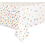 Plastic Rainbow Dot Confetti Table Cover, 210cm x 140cm