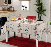 Ottomanson Multicolor Modern Chicken Design Vinyl Indoor & Outdoor Non-Woven Backing Kitchen Picnic Tablecloth