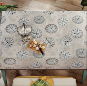 Ottomanson Multicolor Time Clock Design Vinyl Indoor & Outdoor Non-Woven Backing Kitchen Picnic Tablecloth