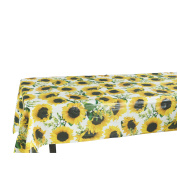 Ottomanson Vinly Yellow Sunflower Design Indoor and Outdoor Non-Woven Backing Tablecloth