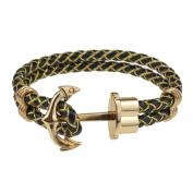 Gold Classic Anchor Braided leather bracelet Black for Men Colour Optional