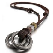 MENDINO Alloy Genuine Leather Pendant Necklace Silver Double Rings Vintage Adjustable 16~70cm Chain Men