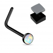 ~ Gift Boxed ~ Nose piercing Studs bones Opal effect straight L bend ring in Various colours sold separately