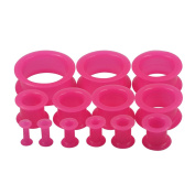 D & Min Jewellery 13 Pairs 8G-2.5cm Thick Silicone Double Flared Hollow Flexible Ear Tunnels Kit Stretching Set
