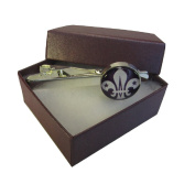 Handmade Fluer De Lis Inspired - Silver Plated Round Glass Tie Pin - Gift Boxed