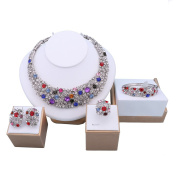 Fashion Gold/Silver Plated Colourful Crystal Necklace Bracelet Earrings Ring Sets