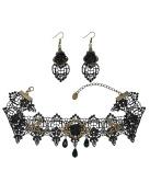 Mudder Black Rose Flower Lace Gothic Lolita Beads Pendant Choker Necklace Earrings Set