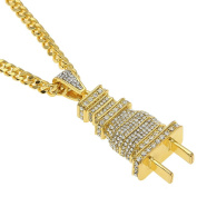 Hip hop 18K Gold Plated Titanium Steel Plug Pendant with Rhinestone Cuban Necklace Mens Jewellery For Present