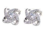 Hosaire Earring Womens Girls Fashion Cute Crystal 4 Leaf Grass Sterling Silver Glittering Stud Earrings Gift-2pcs