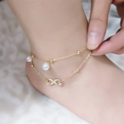 Bodhi2000 2 Layers Anklet Chain Boho Beach Sandal Barefoot Charm Bead Ankle Bracelet