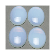 1 x Clear Opalite 18 x 25mm Oval-Shaped Flat-Backed Cabochon - (CA16644-6) - Charming Beads