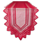 Nordic Lace Tablerunner - Red - 36cm X 180cm