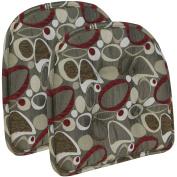 Gripper Non Slip 38cm x 41cm Red Circles Tufted Chair Cushions, Set of 2