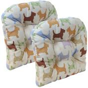 Gripper Non-Slip 38cm x 38cm Scottie Dog Tufted Universal Chair Cushions, Set of 2
