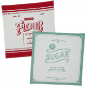 Design Imports Mercantile Printed Flour Sack Dishtowels Set of Four - Includes 2 Flour & 2 Sugar