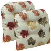 Gripper Non-Slip 38cm x 38cm Falling Leaves Tufted Universal Chair Cushions, Set of 2