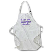 3dRose I love you more than cupcakes. Purple., Full Length Apron, 60cm by 80cm , White, With Pockets