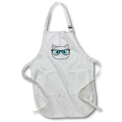 3dRose Cute Hipster Cat with Glasses, Medium Length Apron, 60cm by 60cm , With Pouch Pockets