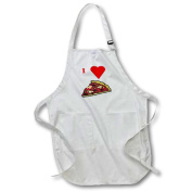 3dRose I Love Pizza, Full Length Apron, 60cm by 80cm , Black, With Pockets
