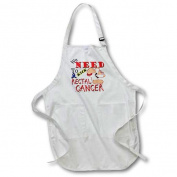 3dRose Kick Rectal Cancer, Full Length Apron, 60cm by 80cm , White, With Pockets