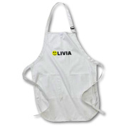 3dRose Print of Olivia With Smiley Face for O, Full Length Apron, 60cm by 80cm , White, With Pockets