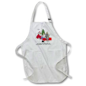 3dRose Dale Hunt - Santa and the Useless Gift List, Full Length Apron, 60cm by 80cm , White, With Pockets