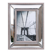 Enigma 10cm . by 15cm . Mirrored Picture Frame, Silver