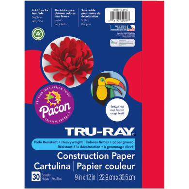 "Tru-Ray® Festive Red Sulphite Construction Paper, 9"" x 12"", 30 Sheets"
