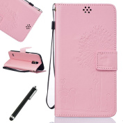 Galaxy S5 Wallet Case,Samsung Galaxy S5 Leather Case,Beddouuk Embossing Dandelion Lover Premium Pu Leather Magnetic Flip Cover Wallet Case with Hand Wrist and Stand Card Holder for Samsung Galaxy S5-Dandelion Lover,Pink