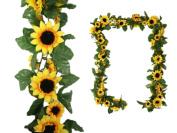 BalsaCircle 1.8m 3D Chain Yellow Sunflower Silk Garland - Home Decorations