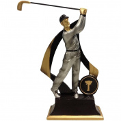Lightahead Polystone Man Golfer 15cm Men Golf Statue Award Trophy Gift House Decor with Separate Name Plate to Write On.