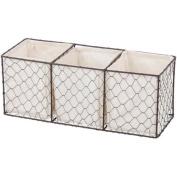 Chapter Lined Chicken Wire Bathroom Storage Basket, White