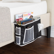 Everyday Home Bedside Organiser, Black with White Trim